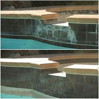 Before and After the Clarity Pool Service Bead Blasting