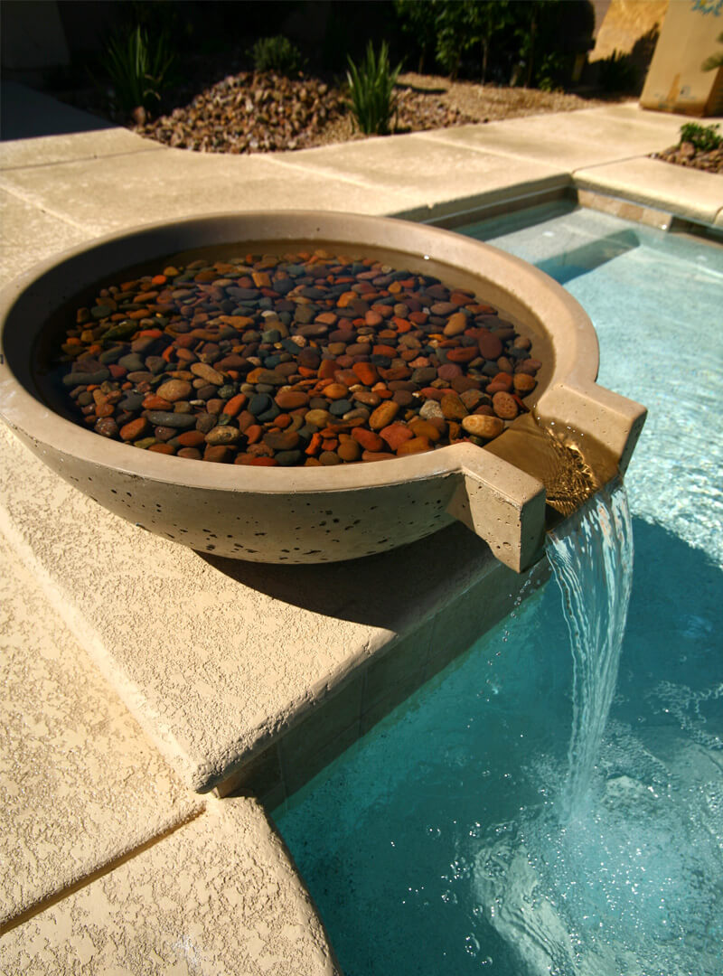 Custom Pool Water Features - Pool Waterfalls, Sheer Water Walls, Fountains, Deck Jets, Bubblers and More