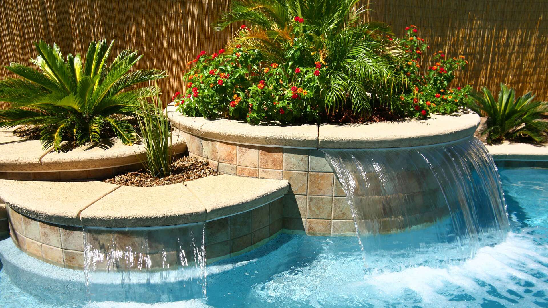 Custom Sheer Waterwall Features - Swimming Pool Design Southern Nevada